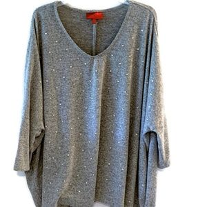 Jennifer Lopez Soft Gray Sweater Bejeweled 3X